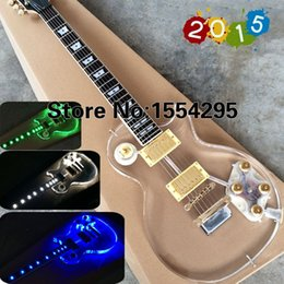 Wholesale Top Quality Electric Guitar guitarra Fingerboard crystal Body with LED Light F LP Acrylic guitar Gold Hardware