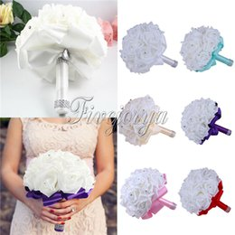 Wholesale Wedding Bouquet Artifical Rose Flowers Rhinestone Colors Wildflower Bride Bouquet for Wedding Party Favors Decorations