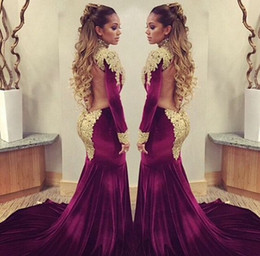 Mermaid Prom Dresses Long Sleeves High Neck Gold Lace Appliques Velvet Party Dresses Evening Wear Open Back Plus Size