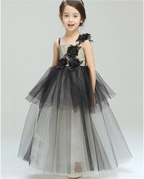 2016 Black Grey Flower Girl Dresses Scoop Sling Ankle length Tulle Kids Wedding Party Robe De Soiree Lovey Elegant Princess Gown
