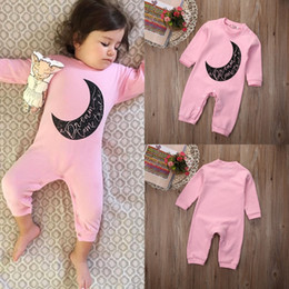 Wholesale 2016 high quality girl s bodysuit Newborn Infant Baby Girls pink Warm Long Sleeve Romper cotton casual Jumpsuit moon logo Sleepsuit Clothes