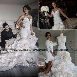 Real Photo Luxury Detail Beaded Ruffles Mermaid Wedding Dresses 2019 Hot Ivory Sweetheart Backless Church Train Trumpet Arabic Wedding Gown