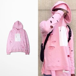 Wholesale Holes Fake Double Layers Men s Pullover Hoodies Cherry Pink Hip Hop Rap Hooded Sweatshirts Print Tracksuits for Autumn S XL