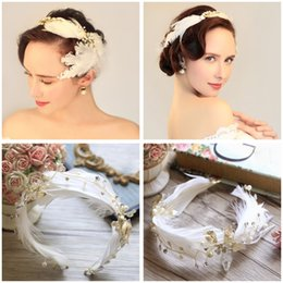 Wholesale Cheaper Feather Headbands - Fashion Feather Crystal Bridal Hairbands Pearl Sparkly Bridal Jewelry Tiaras & Hair Accessories Newest Arrival Cheap Wedding Hair Jewelry