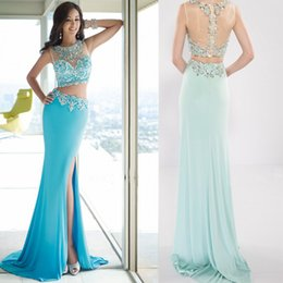 Wholesale 2016 Popular Mermaid Tulle Top See Through Two Piece Prom Dresses Beaded Pattern Leg Slit High Long Party Gowns Light Sky Blue