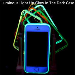 Acheter en ligne Cas transparents pour iphone 4s-Lumineux Lumière Up Glow In The Dark Case Transparent Clear ultra mince Soft TPU cas pour iphone 7 7 plus 6s plus 6 5s se 5c 4s
