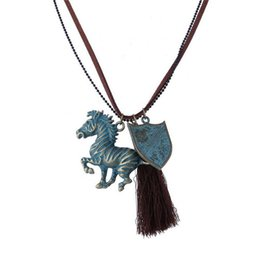 Wholesale 2016 Bohemian Pendant Necklaces Antique Bronze Plated Vintage Running Horse Tag Charm Tassel Necklace Women Gipsy Maxi Necklace for Women