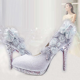 Wholesale Diamond wedding bride summer white high heeled shoes with purple bridesmaid shoes round head thin with adult time female shoes