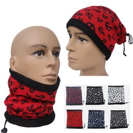 Wholesale 2016 Fall And Winter Classic Evergreen Style Scarf Anchor Pattern Flannel Outdoor Hat Double Draw String Collar Scarf