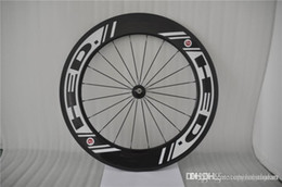 Wholesale 2016 Best Selling HED carbon wheels mm New Black Spokes White Decals Bicycle Wheelsets C Full Carbon Bike Wheel Black Spokes Hole