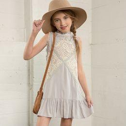 Wholesale Hug Me Big Girls Dress Christmas Kids Clothing Summer Lace Tutu Dress Sleeveless Flower Princess Dress AA