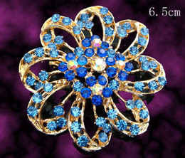 Wholesale Women fashion Gold plated flower shape Zinc alloy rhinestone brooches jewelry Free shipping 12pcs lot Mixed colors BH765