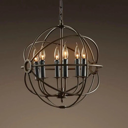 RH Lighting Restoration Hardware Vintage Pendant Lamp Foucault's Iron Orb Chandelier Rustic Iron RH Loft light Globe Style 50cm 65cm