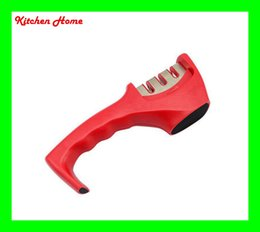 Wholesale 3 Stages in Multifunctional Kitchen Sharpener for Knives Eco friendly Red Color Kitchen Home Sharpening Stone tools