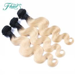 Ombre Hair Extensions Two Tone Blonde 1B 613 Best 8A Brazilian Body Wave Human Hair Weave 3 Bundles Holiday Sale Deals