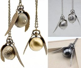 Wholesale mix Colors harry potter golden snitch necklace Harry Potter wings necklace necklace ball quartz pocket watch PW063