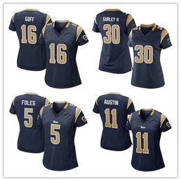 Wholesale womens Rams Jared Goff Todd Gurley II Foles Austin football Jersey cheap blue Soccer rugby Jerseys t shirts size S XL