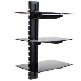 Wholesale 3 Tier Triple Glass Shelf Wall Mount Bracket Under TV Component Cable Box DVD FV