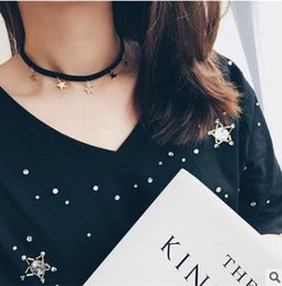 Han edition personality Contracted joker suede pentagonal star pendant necklace clavicle short chain necklace with accessories