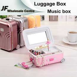 Wholesale Luggage Jewelry Box Music Box Birthday Gift Toys For Children Bless Animated Luxury Go Round Musical Rotate the girl Classic Music Box