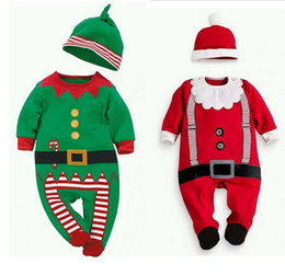 Wholesale Costumes Top Hats - 4set lot!,2016 Christmas Baby rompers Costume kids newborn clothes long sleeve spring children infant clothing set top+hat