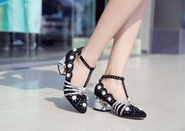 vogue choice~ u624 40 black genuine leather pearl diamond heels shoes runway g designer luxury snake thick heels