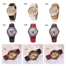 2017 relojes de pulsera piezas Ginebra mapa del mundo del piano observa patrón de reloj de cuarzo relojes de pulsera, reloj de la correa de reloj antifatiga 6 pedazos una porción mezclada GTPH56 estilo económico relojes de pulsera piezas