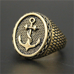 2pcs lot Fast Shipping Newest Golden Color Anchor Ring 316L Stainless Steel Jewelry Popular Fashion Punk Anchor Ring