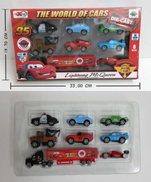Wholesale New Set Pull Back Car Pixar Car Mack Mater Sheriff Cars Sally Chick Hicks quot Mack quot Truck Toy Alloy Mini Car Kids Gift
