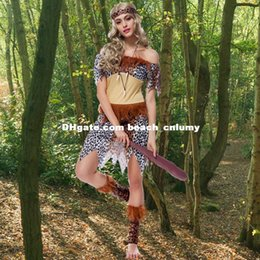 Wholesale DHL free ship Halloween Costumes Cosplay Adult Indian Aboriginal Savage Leopard Indigenous Performing Costume Uniform Temptation Stage Wear