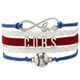 Custom-Infinity Love Chicago Cubs Baseball Sport MLB Team Bracelet Wax Cords Leather Wrapped Adjustable Bracelet Bangles-Drop Shipping