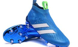 Wholesale 2016 Football shoe ace MESSI Ace16 Purecontrol FG TPU Football Boots Mens High Ankle soccer shoes blue size EUR