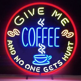GIVE ME COFFEE AND NO ONE GET HURT Real Glass Neon Light Sign Home Beer Bar Pub Recreation Room Game Room Windows Garage Wall Sign
