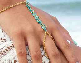 New design gold chain ladies finger ring with green red beads statement finger ring gift for women girl