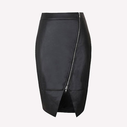 New Women Girl Black PU Leather Skirt Front Zipper Bodycon Mini Skirt Dress Slim Split Pencil Skirts Clubwear ZSJF0428