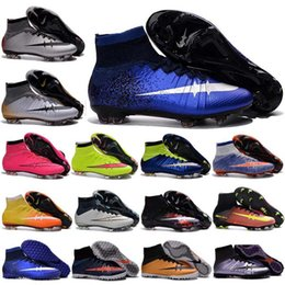 Wholesale Cheap Ronaldo Football Boots - Breathable Kids soccer shoes for Girls and Boys Cheap Print Mercurial Superfly CR7 FG TF Cristiano Ronaldo Youth Women Turf Football Boots