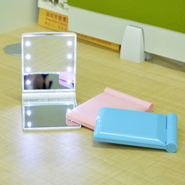 Free Shipping Fashion Mini Plastic Portable Mirror Love Led Lighting Makeup Mirror with Light Folding Mirror