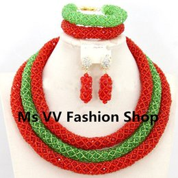 2019 Hot red green African Beads Jewelry Set Nigerian Wedding Beads Jewelry Set Bridesmaid Necklace Jewelry Set Free Shipping