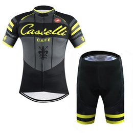Wholesale Tour De France Cast Cafe Yellow Fluo cycling clothing set short sleeve Quick Dry Racing Bicycle ropa ciclismo cycling Jerseys bib pants