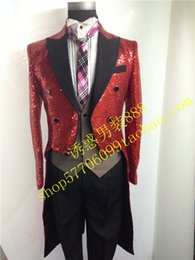Wholesale Double Breasted Men Tailcoat Tuxedo Red Sequin costume wedding magic studio chorus conductor swallowtail Prom Jacket Custom