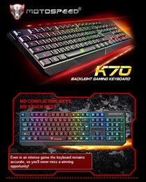 Wholesale MotoSpeed K70 Color Backlight and Luminous Character Gaming Keyboard with Adjustable Feet USB Powered for Desktop Laptop