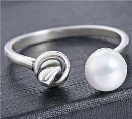 Wholesale Real Silver Finger Rings For Woman Ladies Open Can Adjust Thailand Silver Antique Design Ball Pearl Rope Clinch Supplier For Jewelry pc