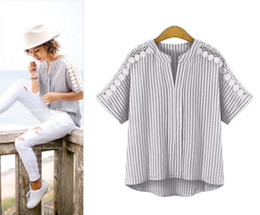 Wholesale Big yards lace T shirt dress fat MM stripe loose cotton short sleeve shirts