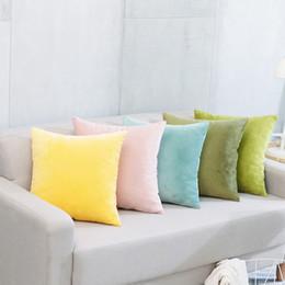 "Thorw pillow cover Velvet Pure color Office sofa seat chair car simple plush core set Hiddenzipper Top pillow cushions home decor 18""*18"""