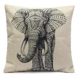 Wholesale Best Promotion Elephant Soft Waist Pillow Case Cotton Linen Vintage Home Living Room Coffee House