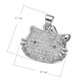 925 Silver Style CZ Micro Inlay Copper Pendant Cat Head Platinum Plated Nickel Lead & Cadmium Free 17x19mm Hole:About 3.1mm 10PCS Lot