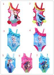 Wholesale Suit One Piece Kid Swimming - Girls Swimwear Bathing Suit Princess Frozen Anna Elsa Swimsuit Kids Ruffled Swimming Suit For Girl Children Swim Costume