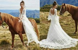 Wholesale Illusion Lace Long Bell Sleeve Beach Wedding Dresses Grace Loves Lace Francis A Line Backless Applique Tulle Chapel Train Bridal Gowns