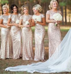 2016 Champagne Rose Gold Sequins Bridesmaid Dresses With Sleeves Long Bridesmaids Gown vestido madrinha Wedding Party Gowns free shipping