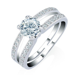 3A Clear CZ Bridal Engagement Ring Silver 18K Gold Plated Ring for Women Austrian Crystals Wedding Party Ring Anniversary Gift